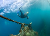 Leander dykker på skipsrvak